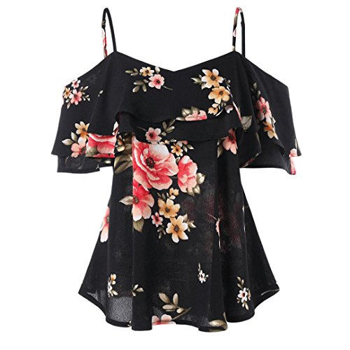 Botrong Women Floral Printing Shirt Sleeveless Vest Tank Top Blouse (L, Black)
