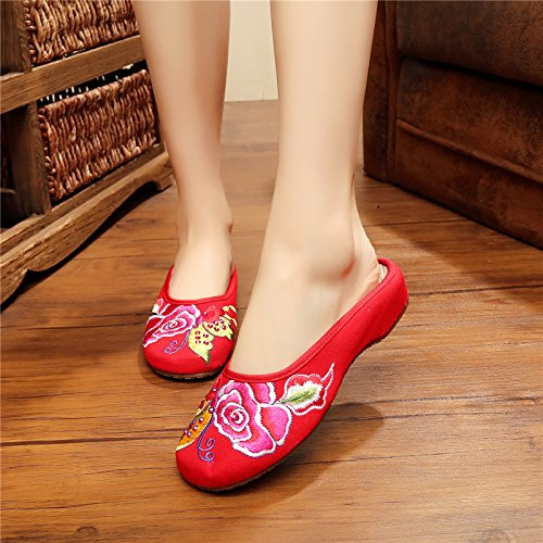 KPHY-Im Frühling Und Und Und Sommer Bestickt Schuhe Folk - Stil Keile Nach Hause Schuhe Schuhe Weiblich Flach Einzelne Schuhe Erhöht e762a1