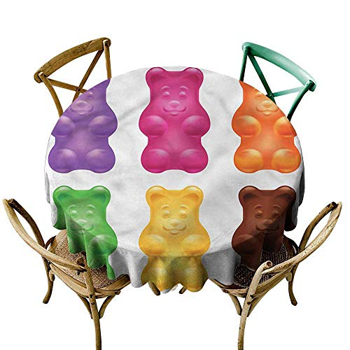(sashimee Children Waterproof tableclothColorful Jelly Gummy BearsD55 Indoor Outdoor Camping Picnic )