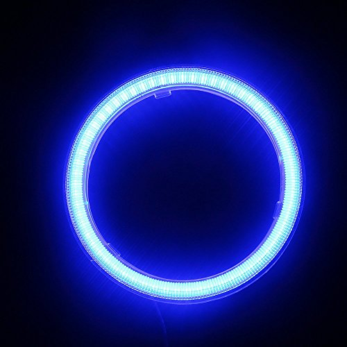 Blue Led Ring (EverBrightt 1-Pair Blue 70MM 60SMD COB LED Headlight Angel Eyes Bulb Halo Ring Lamp Light With Housing)