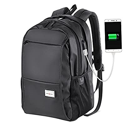 1eda80c4cf5a Mens School Backpack College Laptop Backpack with USB Charging Port Teen  Boys Bookbags Water Resistant Business