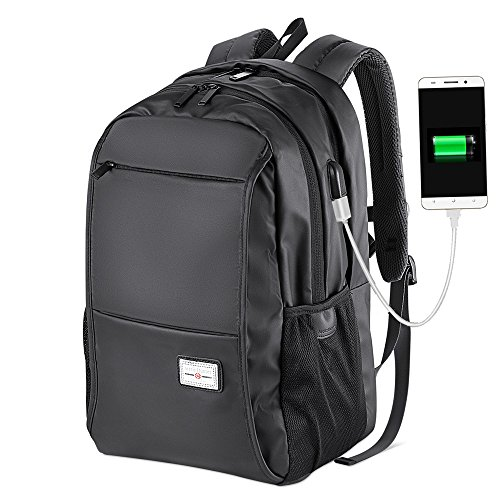 School Backpack Boys Bookbags Water Resistant Laptop Computer Bag with USB Charging Port College Student Backpack (Black)