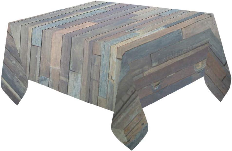 LIS HOME Azul Gris Grunge tablones rústicos Granero Casa Madera Decoración para el hogar Mesa Cubierta Algodón Lino Mantel Interior y Exterior para mesas rectangulares: Amazon.es: Hogar