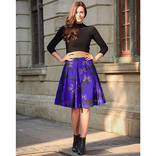 Falda plisada del patín de la falda de la alta cintura de las mujeres floral / de los lunares Mariposa azul