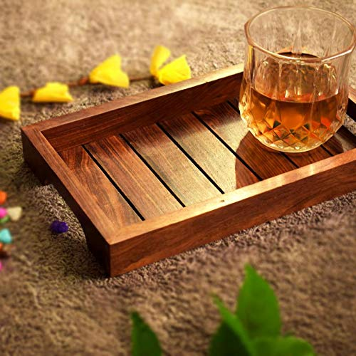 Hashcart Indian Rosewood Sheesham Wood Handmade & Handcrafted Wooden Serving Tray ()