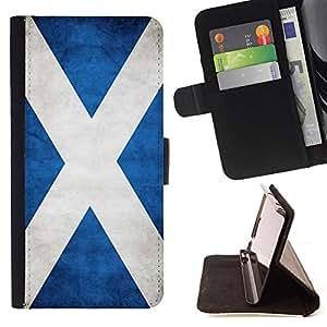 KingStore / Leather Etui en cuir / Samsung Galaxy S3 MINI 8190 / Nacional bandera de la nación País Escocia