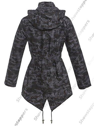 Manteau SS7 impermable camouflage noir Femme XwBp6