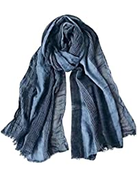 Cotton-Linen Scarves Mens Stripe Crinkle Long Scarf