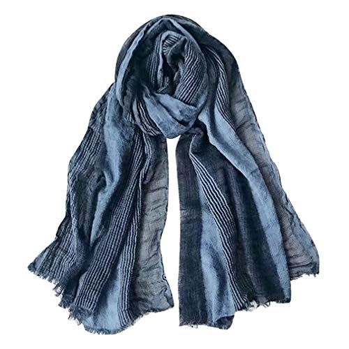 GERINLY Cotton-Linen Scarves Mens Stripe Crinkle Long Scarf (Blue)