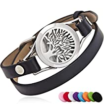 BRIGHTSHOW Essential Oil Diffuser Bracelet,Stainless Steel Aromatherapy Locket Novelty Bangle Bracelets Leather Band with 10 Color Pads,Girls Women Mens Bracelets Jewelry Gift