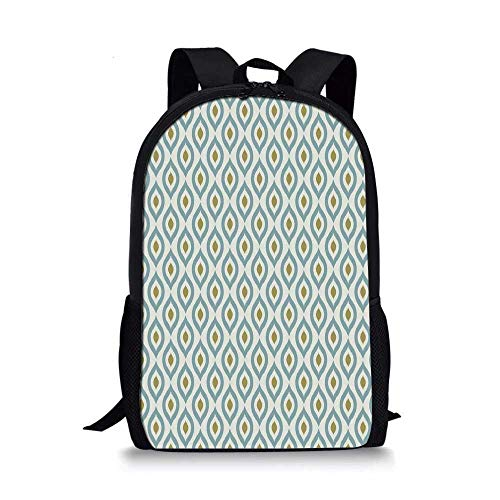 (Geometric Stylish School Bag,Retro Tribal Ikat Oval Shapes Vintage Damask Inspired Motifs Faded Colors Decorative for Boys,11''L x 5''W x 17''H )
