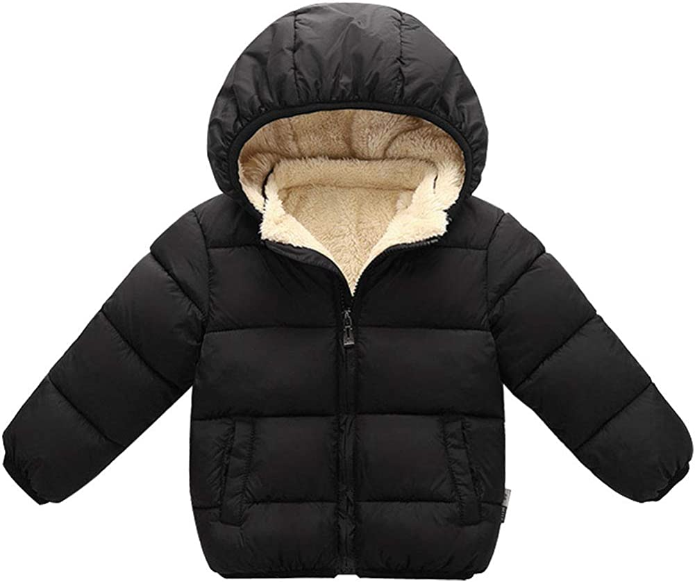 Agujat 1-7 Years Winter Coats for Toddlers Baby Boys Girls with Removable Fur Hooded Down Jacket Warm Fleece Coat Outerwear