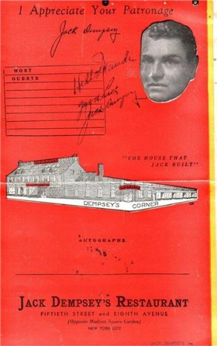 Boxer Jack Dempsey Autographed Menu From Jack Dempsey's In New York City (Sports Memorabilia) Jack Dempsey Memorabilia