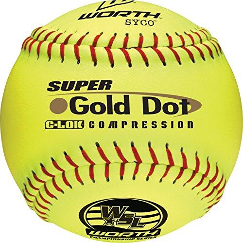 Worth Sports SYCO Super Gold Dot W00514761 Softball 12'' 44/400, Yellow by Worth