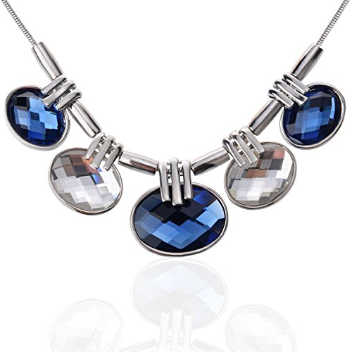 TAGOO Trendy Silver Vintage Boho Teardrop Round Choker Chunky Statement Necklace Rhinestone Jewelry for Women&Girls Fashion&Banquet (Crystal Pendant Round Blue&Clear 15.75