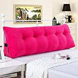 General Vercart Sofa Bed Large Upholstered Headboard Filled Triangular Wedge Cushion Bed Backrest Positioning Support Pillow Reading Pillow Office Lumbar Pad with Removable Cover Fushcia 39 Inches
