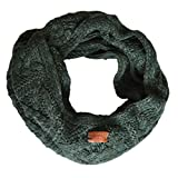 Aran Traditions Knitted Style Cable Design Snood, Dark Green Colour