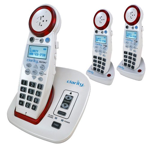 Clarity XLC3.4+ Severe Hearing Loss Cordless Phone with 2 XLC3.6+ HS Expandable Handsets
