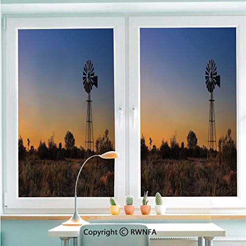 - Window Door Sticker Glass Film,Sunset in Kalahari Peaceful Outdoors Agriculture Rural Nature Image Anti UV Heat Control Privacy Kitchen Curtains for Glass,22.8 x 35.4 inch,Blue Brown Marigold