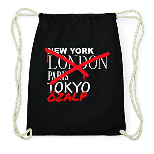 JOllify ÖZALP Hipster Turnbeutel Tasche Rucksack aus Baumwolle - Farbe: schwarz Design: Grafitti