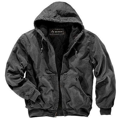 Dri-Duck Men's 5020 Cheyenne Hooded Work Jacket, Charcoal, Large