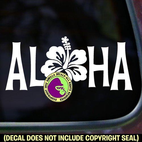 The Gorilla Farm O ALOHA Hibiscus Hawaii Flower Hawaiian Vinyl Decal Sticker Home Front Door Window Wall Car Sign ()