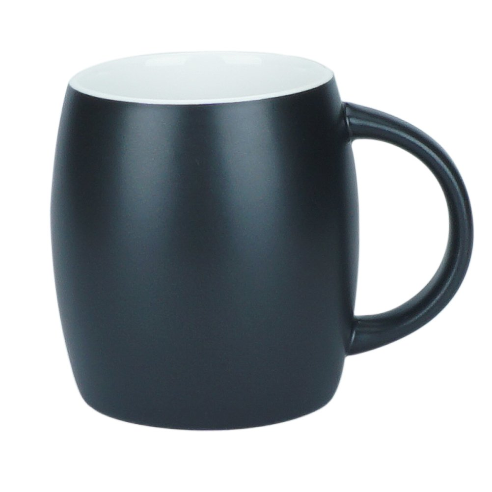 15 Ounce Ceramic Coffee Mugs Simple Pure Large milk Mug Porcelain Cup for Restaurant Office Home, Black, 1 Pack
