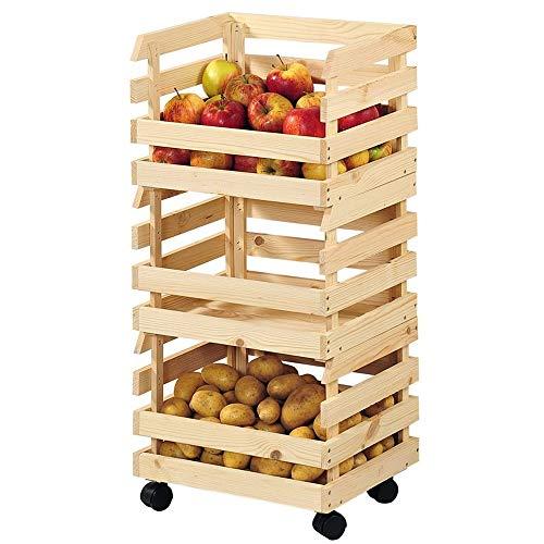 EQT-TEC Kartoffelkiste und Obstkiste 3 TLG. Kiefernholz Holzkiste Transportkiste Transportbox Box mit Rollen