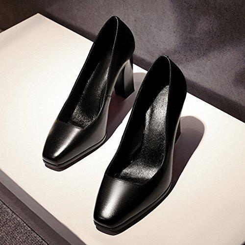 Talons Carrée Hauts Cuir Tête Talon Simples des Confortables Tempérament à Travaillent Chaussures Saisons Et Femmes Chaussures Quatre Black en DKFJKI 1dqw5Rcv1