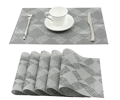 Homcomoda Vinyl Brown Placemats Heat Resistant Dining Table Mats Non-slip Washable Place Mats for Kitchen Table (Set of 6, E-Gray)