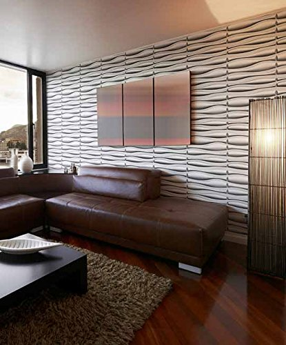 Easy Peel And Stick, Durable Plastic 3D Wall Panel - LAVA Design. 12 Panels. 32 SF