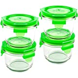 Wean Green Round Wean Bowls 6oz/165ml Baby Food Glass Containers - Pea (Set of 4)