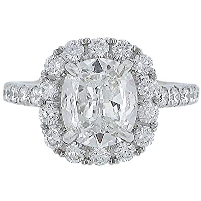 Henri Daussi Halo Design Cushion Cut Diamond Engagement Ring