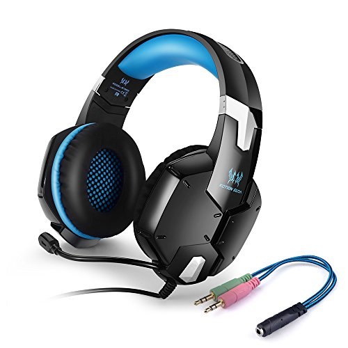 Gaming Headset KOTION EACH G1200 PC Over-Ear Stereo Kopfhörer Ohrhörer mit Mikrofon fürLaptop / Mobile Phones(Blau)