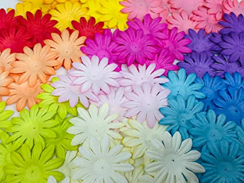 100 pc Mini Daisy Mulberry Paper Mixed Color Flower 10 mm Supplies Card Scrapbooking Embellishment DIY Wedding Doll House F002