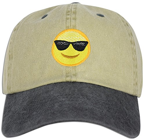 Emoji Happy Face Sunglasses Cap Hat Dad Adjustable Polo Style Unconstructed (Khaki / - Happy Sunglasses Face