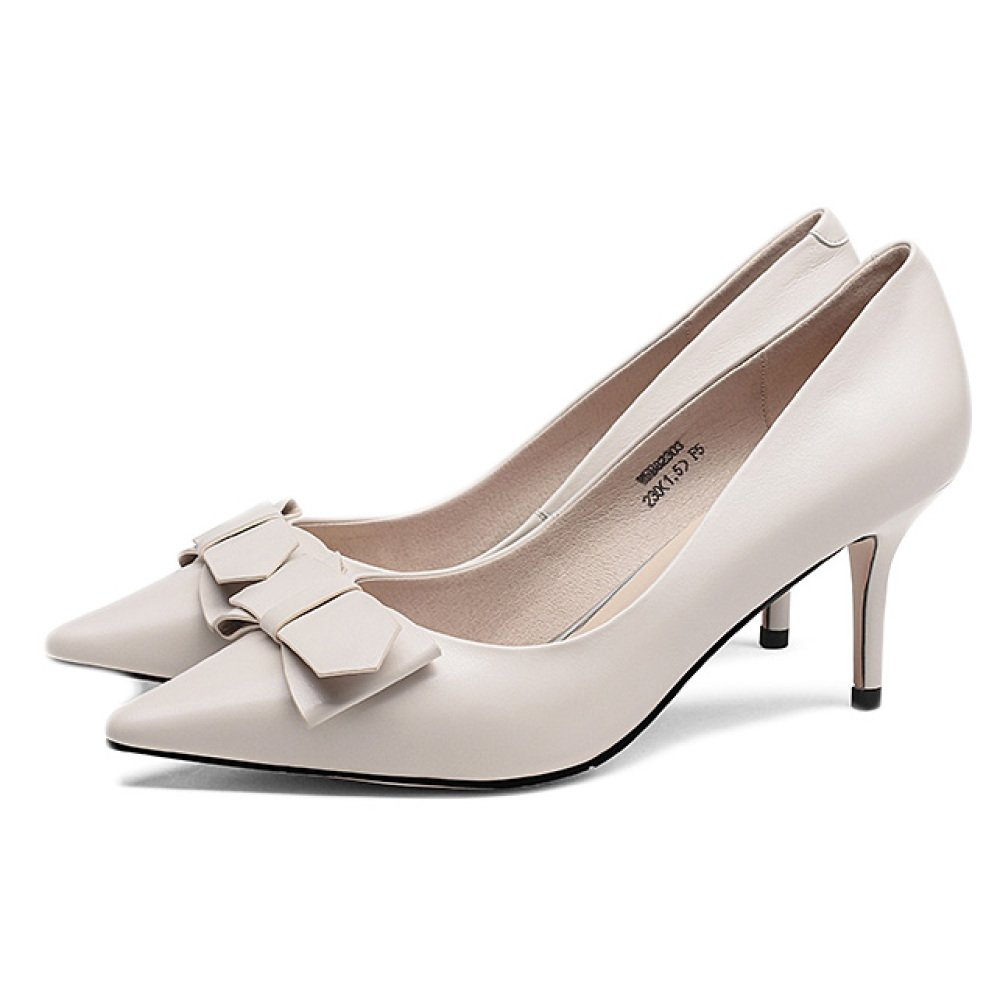 Snfgoij Frau Schwarz High Heels Fashion Sexy Arbeit Court Schuhe Hochzeit,Beige-8.8cm-EU 37 UK 4.5