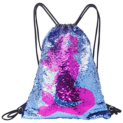 Fandicto Mermaid Sequin Drawstring Bags Unicorn Pineapple Bags for Girls Women Party Supplies (Mermaid)