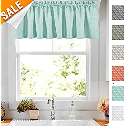 Lazzzy Light Blue Window Valance 18 inch Rod Pocket Kitchen Curtain Panel Sold Individually Waffle Woven Textured Bathroom Window Treatment