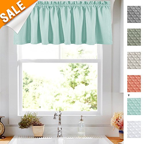 Used, Lazzzy Baby Blue Waffle Weave Textured Valance for for sale  Delivered anywhere in USA