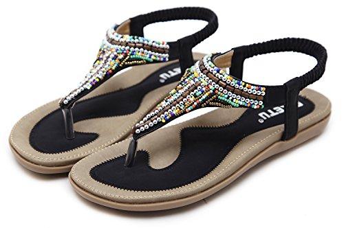 Cómodo Negro Mujer Verano Mujeres para Sandalias Aitaobao Elegante Chanclas Las Sandalias Planas Y del Bohemias Cómodos Zapatos SUOqBHxwn