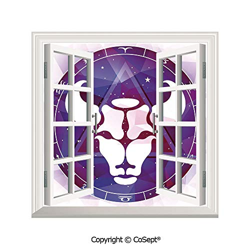 Artificial Window Wall Applique Landscape Wall Decoration,Zodiac on Bull Figure with Geometric Triangle over Space Background Image Decorative,Window Decorative Decals Interior(25.86x22.63 inch)