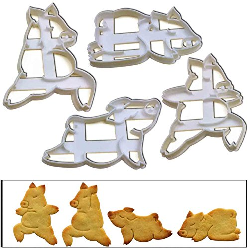 SET of 4 Yoga Pig cookie cutters, 4 pcs, Ideal for yoga classes, teachers and instructors