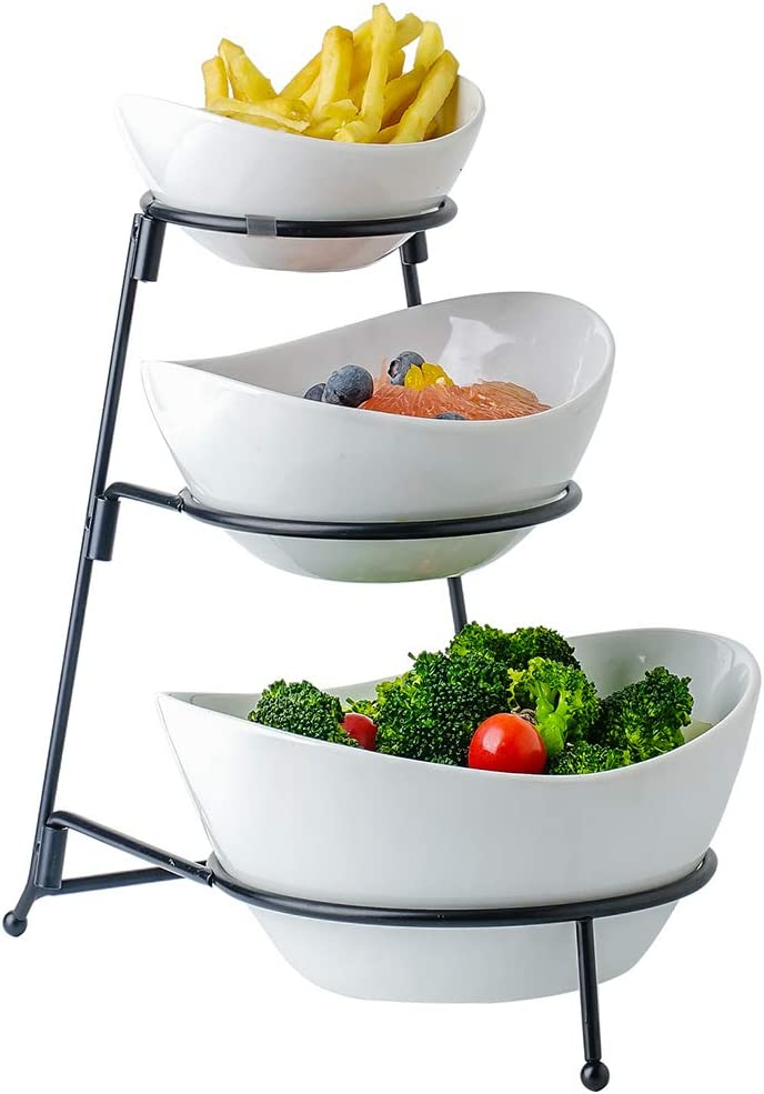 Ceramic Serving Bowls, 3 Tier Oval Fruit Serving Tray Set, Three Tiered Food Server Display Stand Serveware with Collapsible Thicker Sturdier Metal Rack for Snacks Appetizer Dessert Cake Chips & Dip