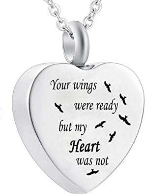 BGAFLOVE Cremation Jewelry for Ashes with Angel Wing Heart Charm Urn Necklace for Ashes with Filling Kit Eternity Stainless Steel Memorial Ashes Hold Pendant Keepsake