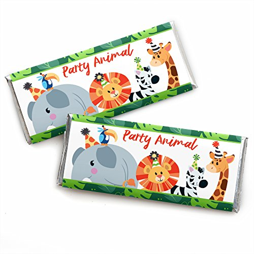 Jungle Party Animals - Candy Bar Wrapper Safari Zoo Animal Birthday Party Or Baby Shower Favors - Set of 24 by Big Dot of Happiness