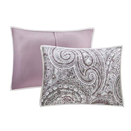 comfort Spaces Comforter Set King Bedding Set Kashmir 8 Piece Plum Purple Paisley print out having solid Plum Purple Reverse Hypoallergenic delicate Microfiber light and transportable All Season King Comforter