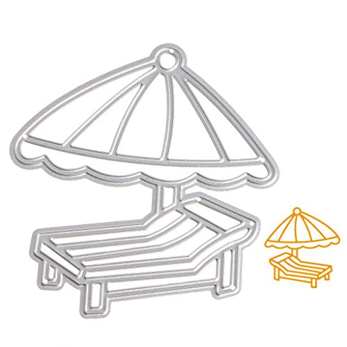 LIYUDL DIY Metal Cutting Dies Stencil Template Mould for DIY Scrapbook Embossing Album Paper Card Craft Decoration (Beach chair and umbrella)