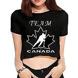 Women's TEAM CANADA Logo Crop Top T-shirt Black