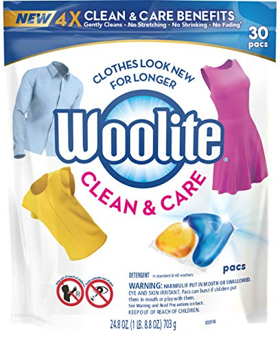 Woolite Clean & Care Pacs, Laundry Detergent Pacs, 30 Count, for Standard and HE Washers